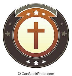 botão, cristão, crucifixos, imperial