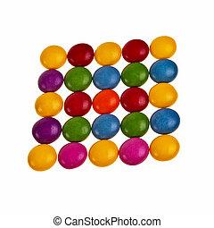botão, dado forma, coloridos, bala doce, sobre, fundo branco, em, quadrado, pattern.