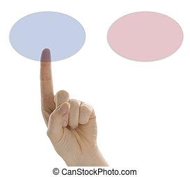 botão, dedo, escolher