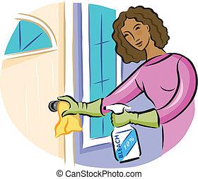 botão, desinfetante, mulher, porta, pulverizador, limpeza, ...