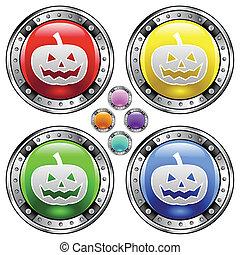 botão, dia das bruxas, coloridos, abóbora