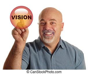 botão, diz, visão, apontar, homem