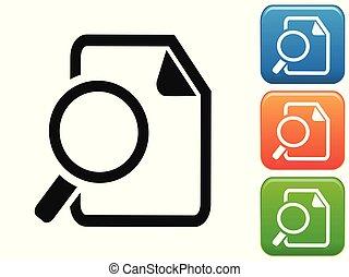 botão, documentos, procurar, ícones