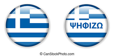 botão, eleições, grécia, voto, emblema, vazio