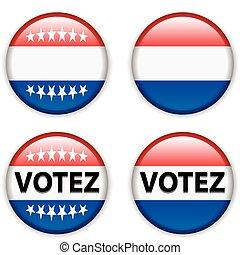 botão, eleições, voto, france/french, emblema, vazio