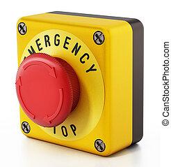 botão emergência, parada, isolado, ilustração, experiência., branca, 3d