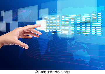 botão empurra, solução, mão, toque, interface, tela