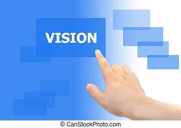 botão empurra, visão, mão