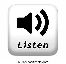 botão, escutar