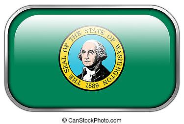botão, estado washington, bandeira, lustroso, retângulo