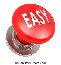 botão, fácil, vermelho