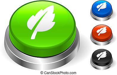 botão, folha, ícone, internet