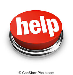 botão, help-, vermelho