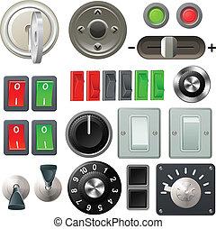 botão, interruptor, e, disco, projete elementos