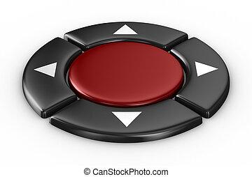botão, isolado, experiência., branca, imagem, vermelho, 3d