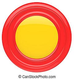 botão, isolado, experiência., branco vermelho, vazio