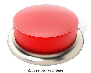 botão, isolado, ilustração, experiência., branco vermelho, 3d