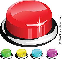 botão, isolado, ilustração, vetorial, branco vermelho, 3d