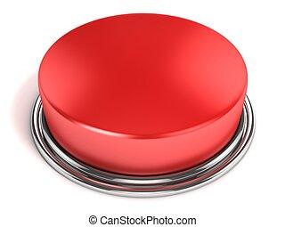 botão, isolado, vermelho