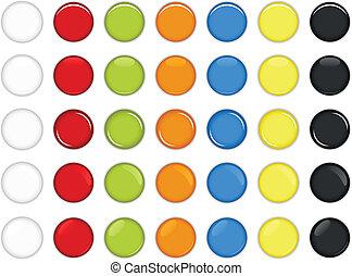 botão, lustroso, coloridos, redondo