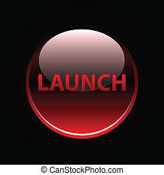 botão, lustroso, vermelho, lançamento