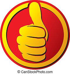 botão, mão, mostrando, cima, polegares