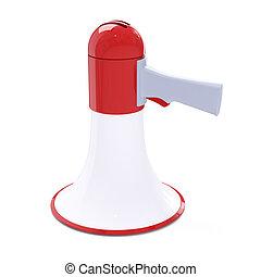 botão, megafone, vermelho