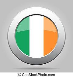 botão, metal, bandeira, irlanda