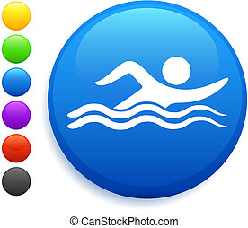 botão, natação, ícone, redondo, internet
