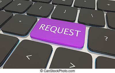 botão, pedido, ilustração, computador, submeta, teclado, perguntar, 3d