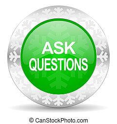 botão, perguntar, verde, perguntas, ícone, natal