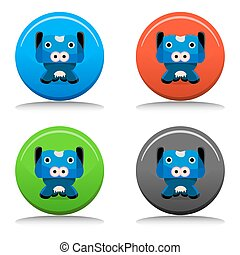 botão, personagem, caricatura, vaca