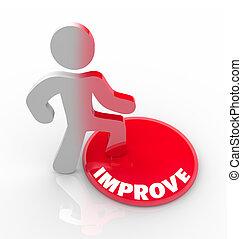 botão, -, pessoa, crescimento, passos, mudanças, melhorar