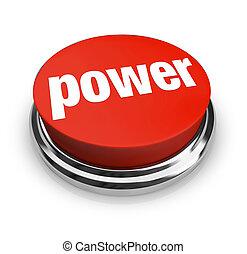 botão, -, poder, vermelho
