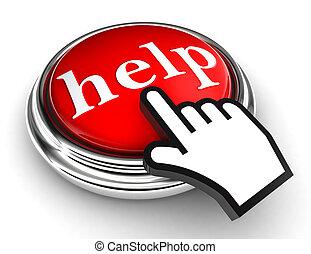 botão, ponteiro, ajuda, vermelho, mão