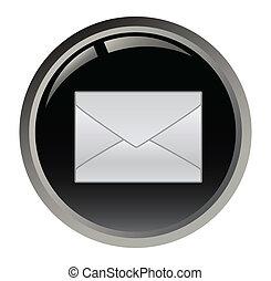 botão preto, e-mail, vetorial