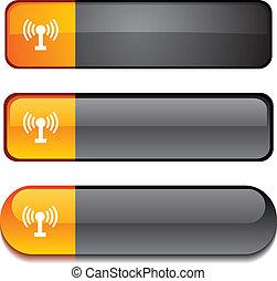 botão, rádio, set.