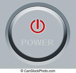 botão, redondo, poder