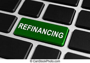 botão, refinancing, teclado