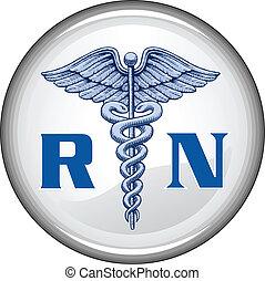botão, registrado, enfermeira