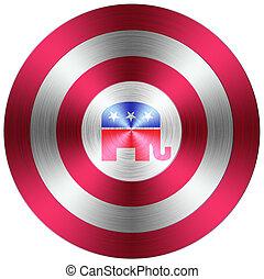 botão, republicano, metálico