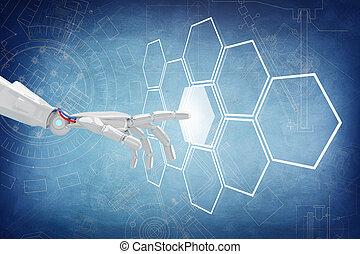 botão, robô, mão, fazendo, hexagons., empurrão, hexágono, 3d