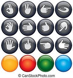 botão, sinal mão
