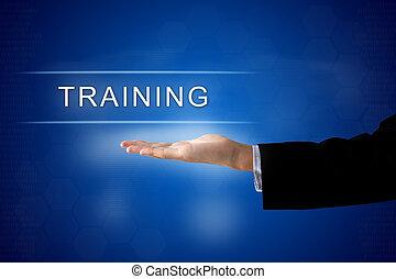 botão, tela, treinamento, virtual