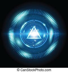 botão, triangulo, poder, digital