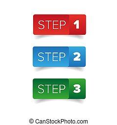 botão, um, passo, dois, três