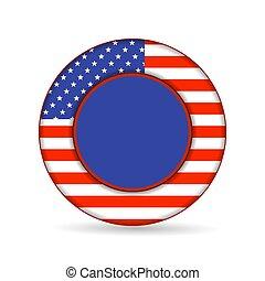 botão, unidas, bandeira, américa, estado