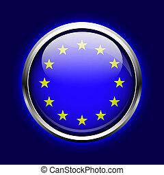 botão, union., bandeira, ue, europeu, ícone