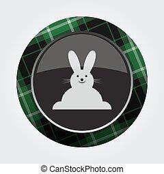 botão, verde, pretas, tartan, -, sorrindo, coelho, ícone