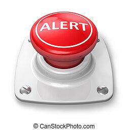 botão, vermelho, alerta